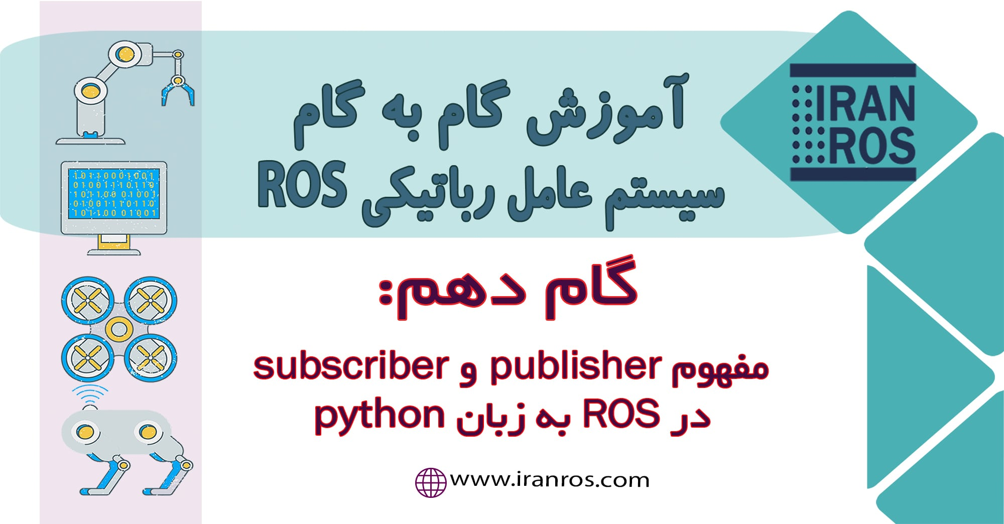 گام دهم: مفهوم Publisher-Subscriber در ROS به زبان python